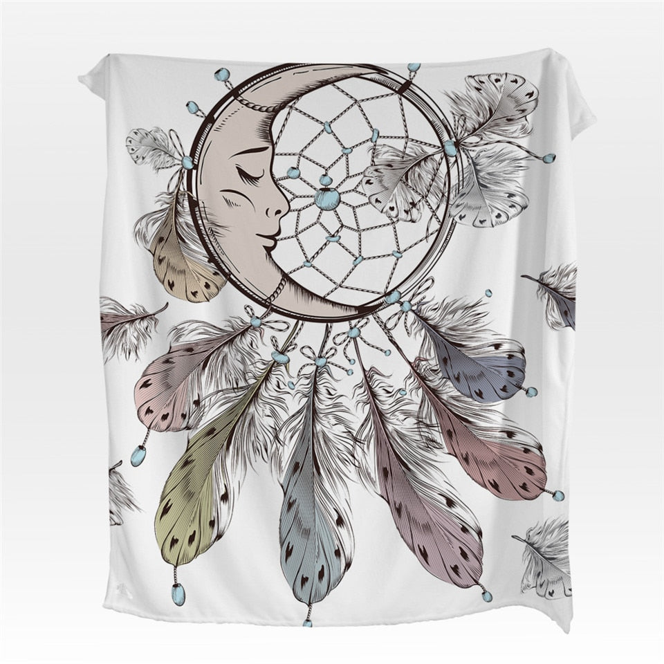 White Moon Dreamcatcher Fleece Throw Blanket