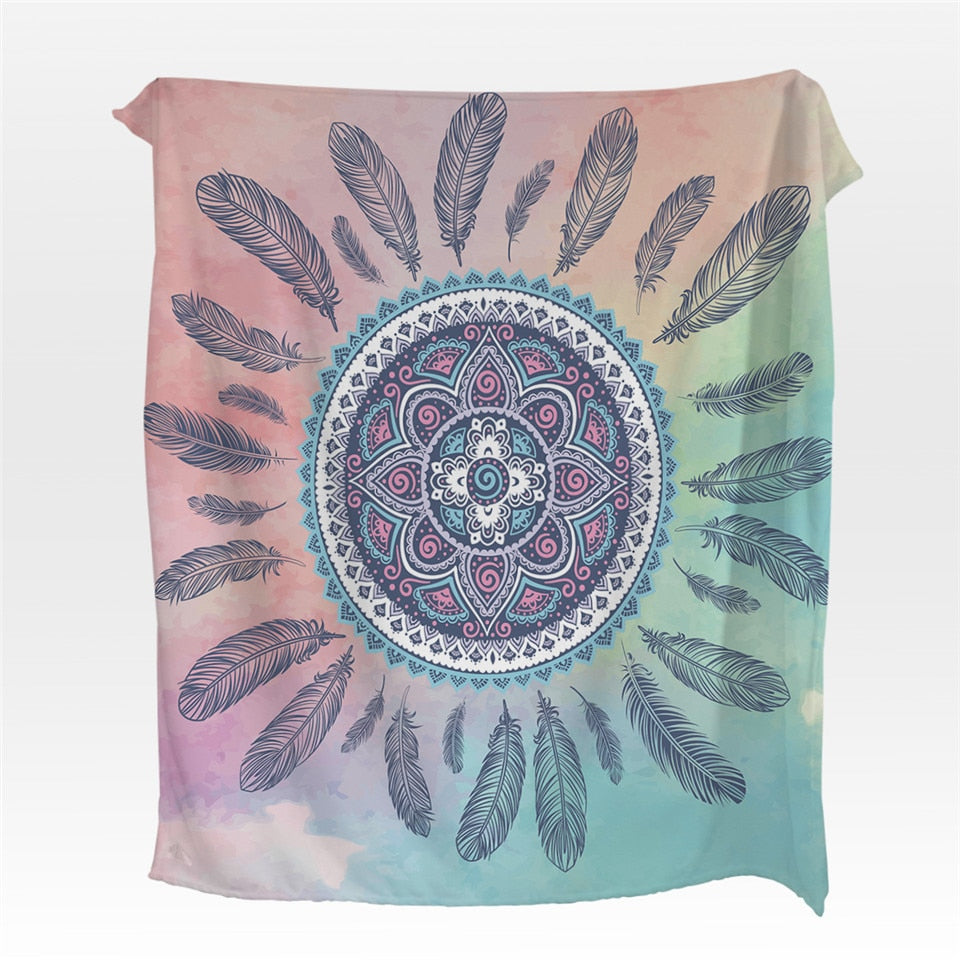 Pink Bohemian Dreamcatcher  Fleece Throw Blanket