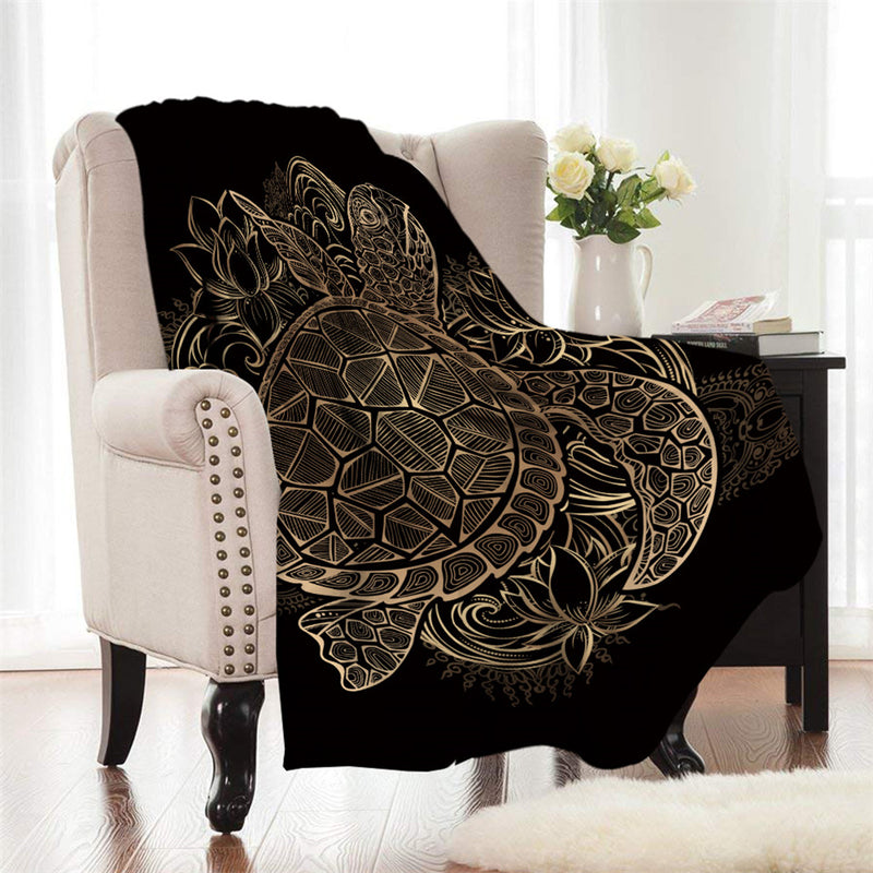 Gold Patterned Sea Turtle Fleece Throw Blanket