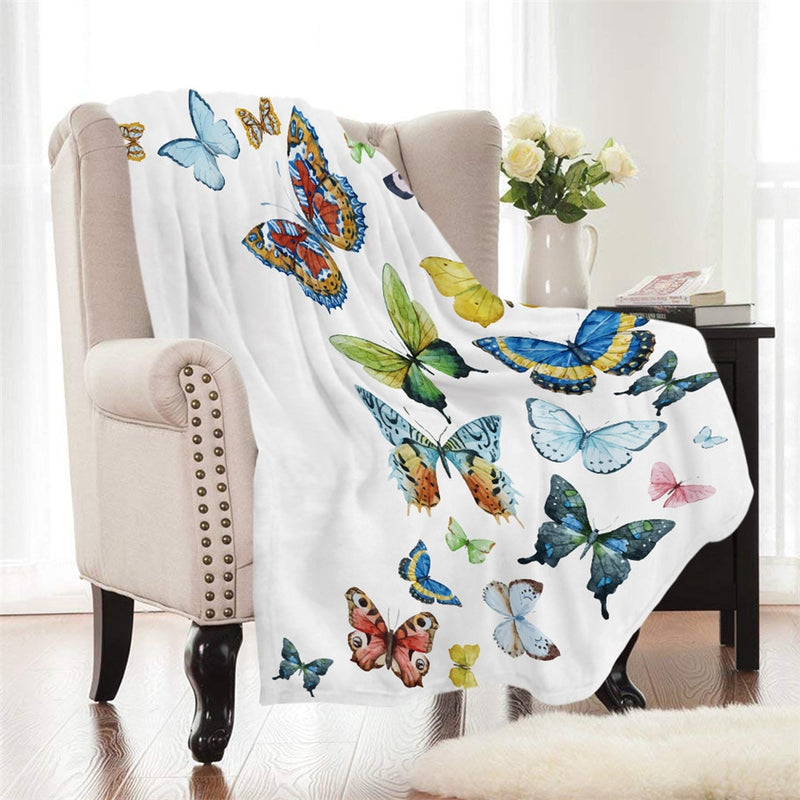 White Colorful Flying Butterflies Fleece Throw Blanket