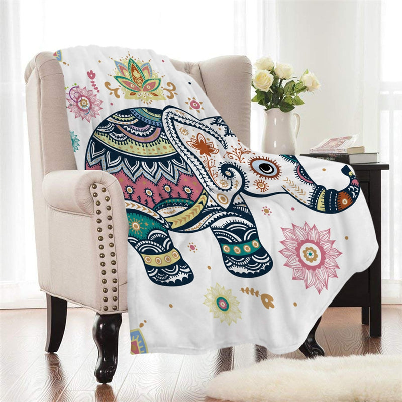 White Boho Baby Elephant Fleece Throw Blanket