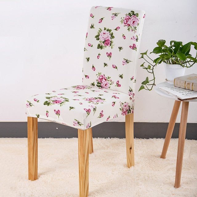 White Pink Floral Rose Pattern Dining Chair Cover
