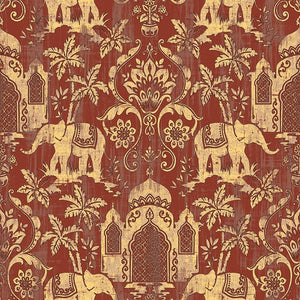 Vintage Indian Temple / Elephant Pattern Wallpaper