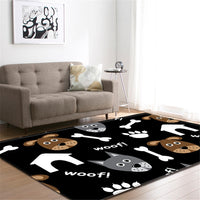 Black Cartoon Dog Print Area Rug Floor Mat