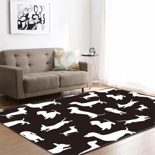 Black & White Dachshund Print Area Rug Floor Mat