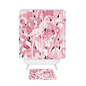 Tropical Pink Flamingo Shower Curtain / Bath Mat