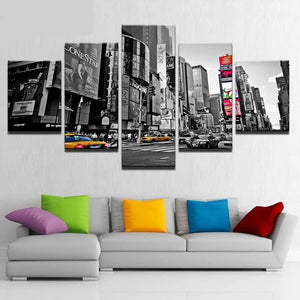 5-Piece Black & White NYC Times Square Canvas Wall Art