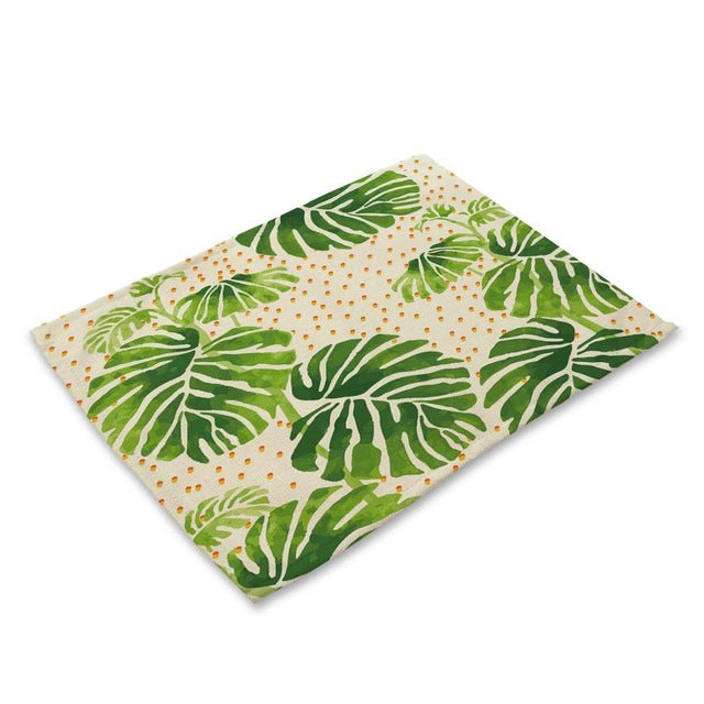 Colorful Abstract Palm Leaf Pattern Table Placemat