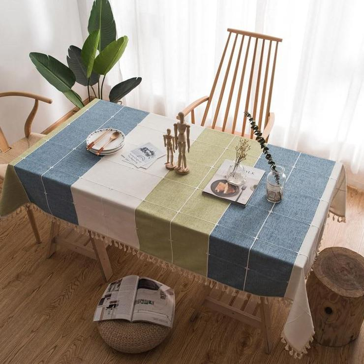 Blue / Green Grid Pattern Cotton Linen Tablecloth w/ Tassels