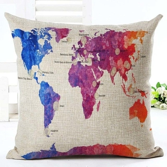 "18"" Vintage Nautical Map Throw Pillow Cover"