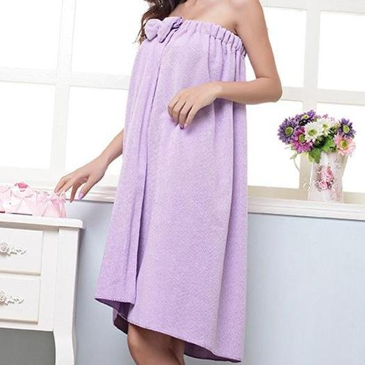 Women's Strapless Bow Wearable Bath Towel Wrap