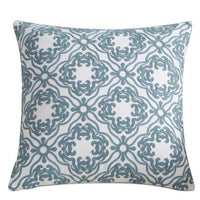 "18"" Blue Embroidered Geometric Throw Pillow Cover"