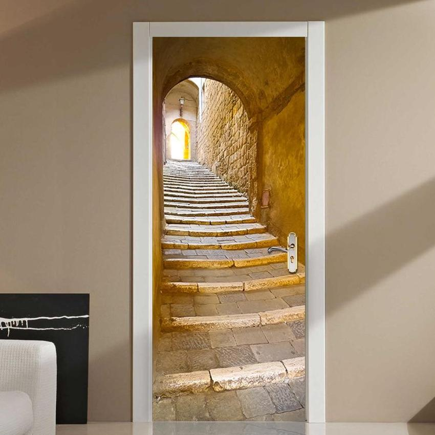 Arched Stone Staircase 3D Door Mural Sticker