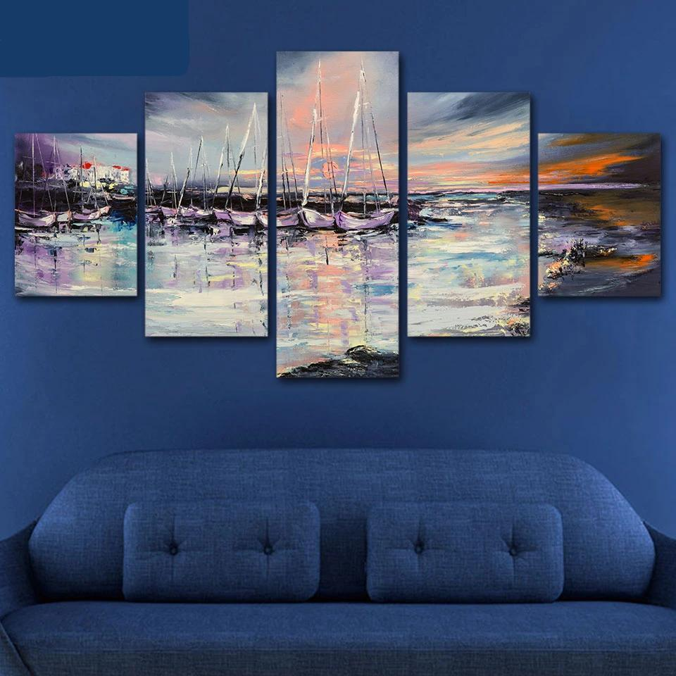5-Piece Abstract Seaside Sailboat Dock Canvas Wall Art
