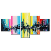 5-Piece Colorful Abstract City Skyline Canvas Wall Art