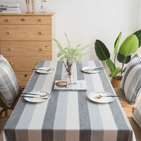 Contemporary Gray Striped Cotton Linen Tablecloth
