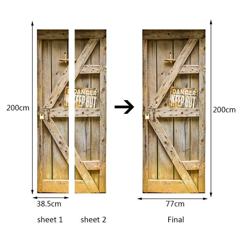 Rustic Wooden Door 3D Door Decal Sticker