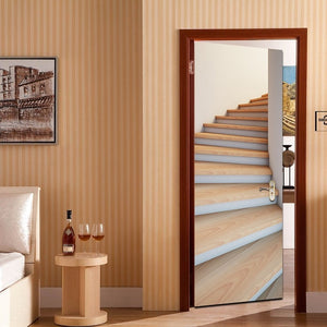 Spiral Wood Staircase 3D Door Mural Sticker