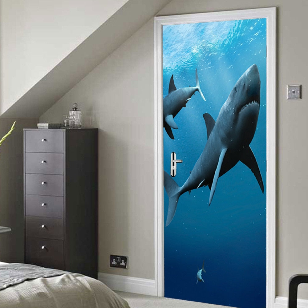 Deep Blue Sea Shark 3D Door Mural Sticker