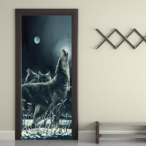 Howling Night Wolf 3D Door Mural Sticker