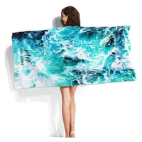 XL Quick-Dry Hello Summer Wave Print Beach Towel