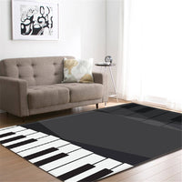 Piano Musical Note Print Area Rug Floor Mat