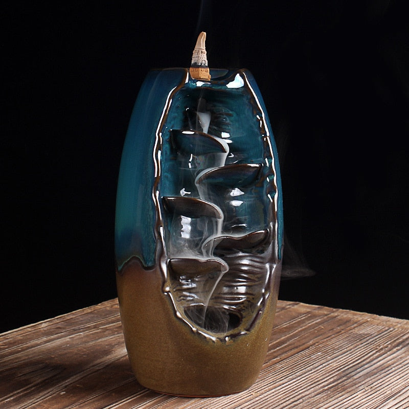 Cylindrical Stepped Waterfall Backflow Incense Burner