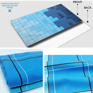 Large Quick-Dry Blue Tile Matrix Beach Towel
