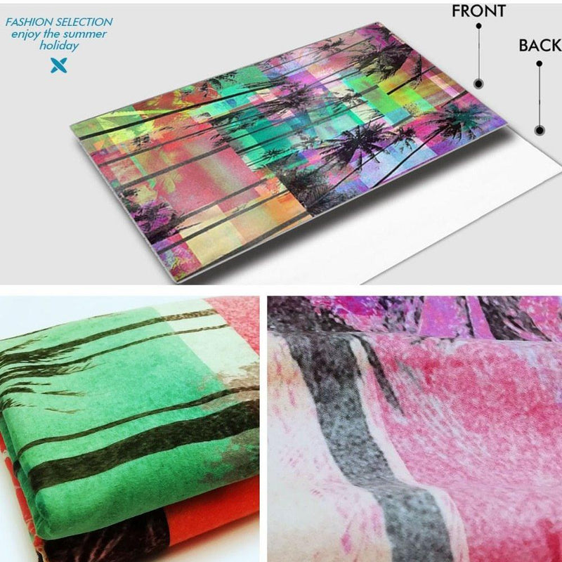 Large Quick-Dry Abstract Rainbow Palm Tree Beach Towel