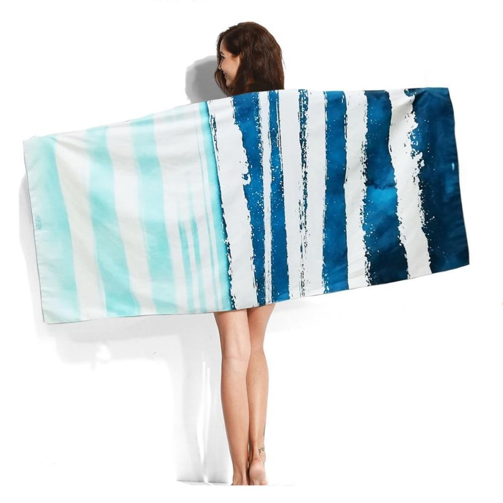 XL Quick-Dry Abstract Blue Wave Beach Towel