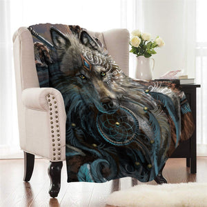Wolf Warrior by SunimaArt Fleece Throw Blanket