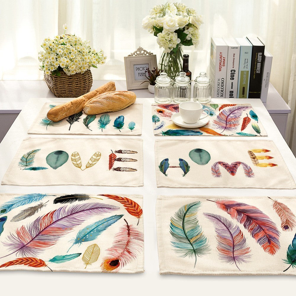 Multi-Color Bird / Feather Print Table Placemat