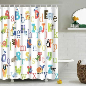 Kids Colorful Animal Alphabet Bathroom Shower Curtain