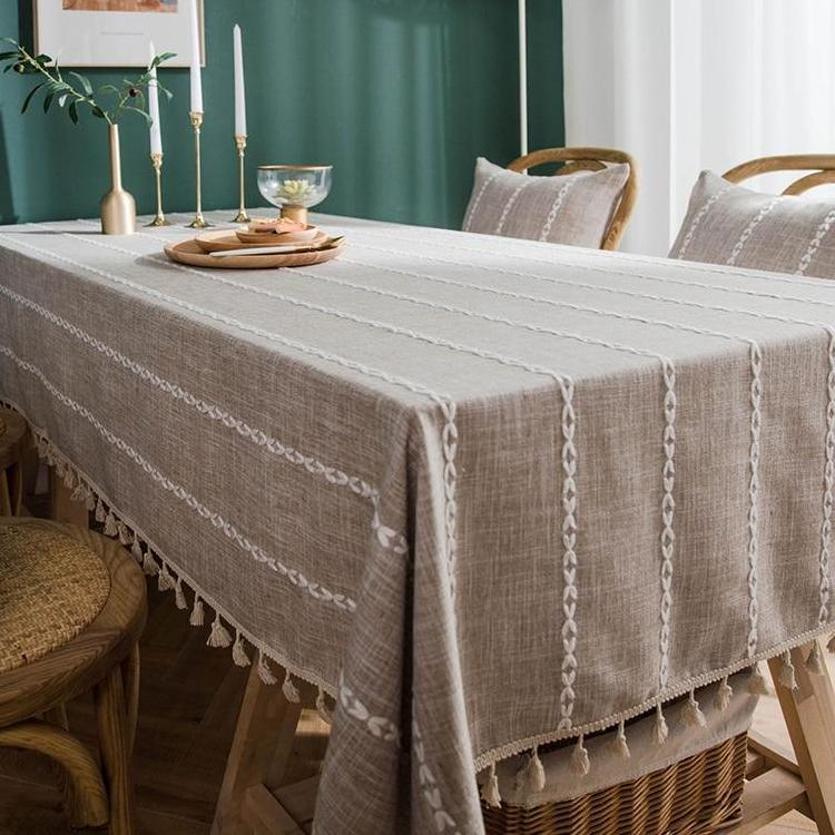 Beige Chain Striped Cotton Linen Tablecloth w/ Tassels