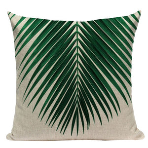 "18"" Green Tropical Palm Leaf Print Throw Pillow Cover"