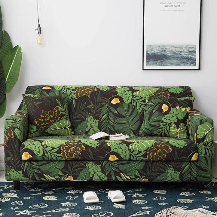 Green Floral Palm Leaf Pattern Sofa Couch Cover