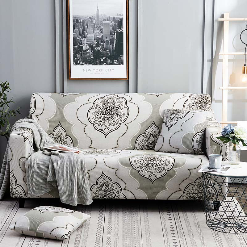Beige Floral Medallion Pattern Sofa Couch Cover