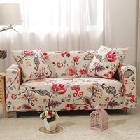 Ivory Red Floral Pattern Sofa Couch Cover