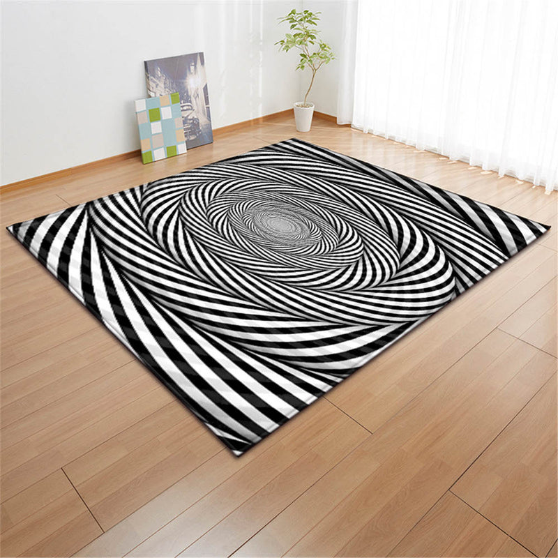 3D Black & White Geometric Swirl Area Rug Floor Mat
