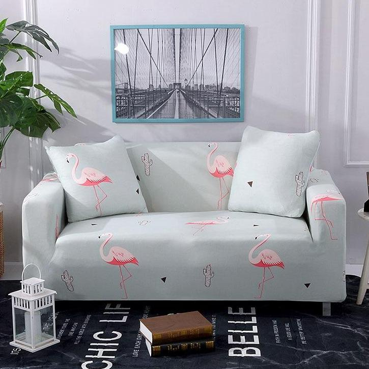 Pink Flamingo Cactus Pattern Sofa Couch Cover