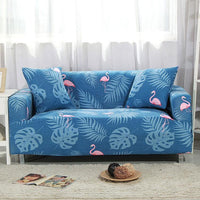 Blue Palm Flamingo Pattern Sofa Couch Cover