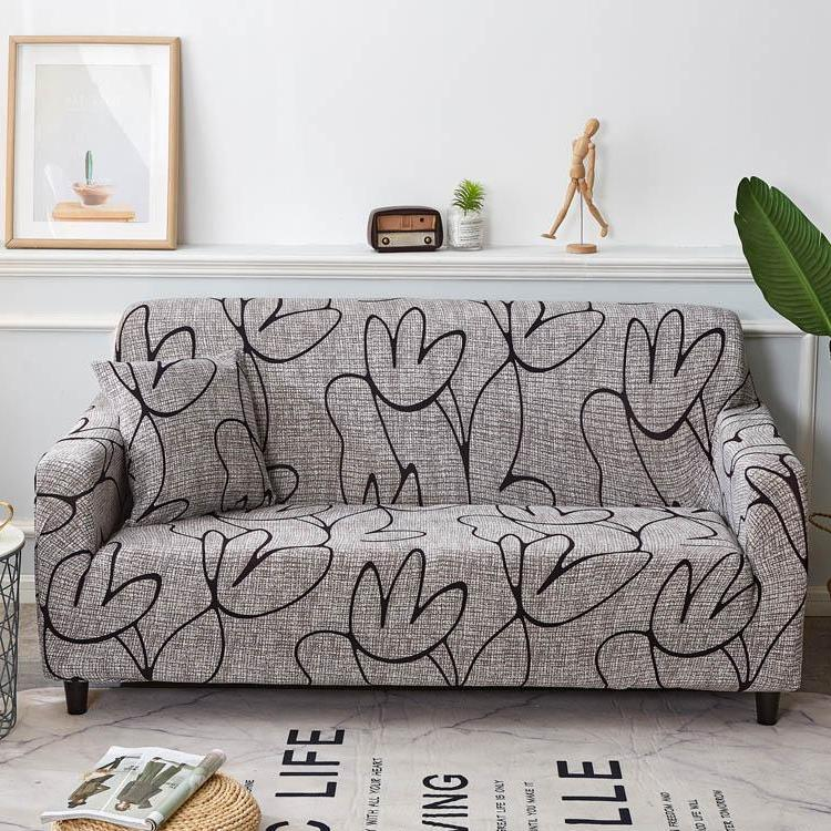 Gray Abstract Flower Pattern Sofa Couch Cover