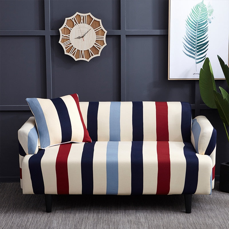 Red / Blue Striped Elastic Sofa Couch Cover