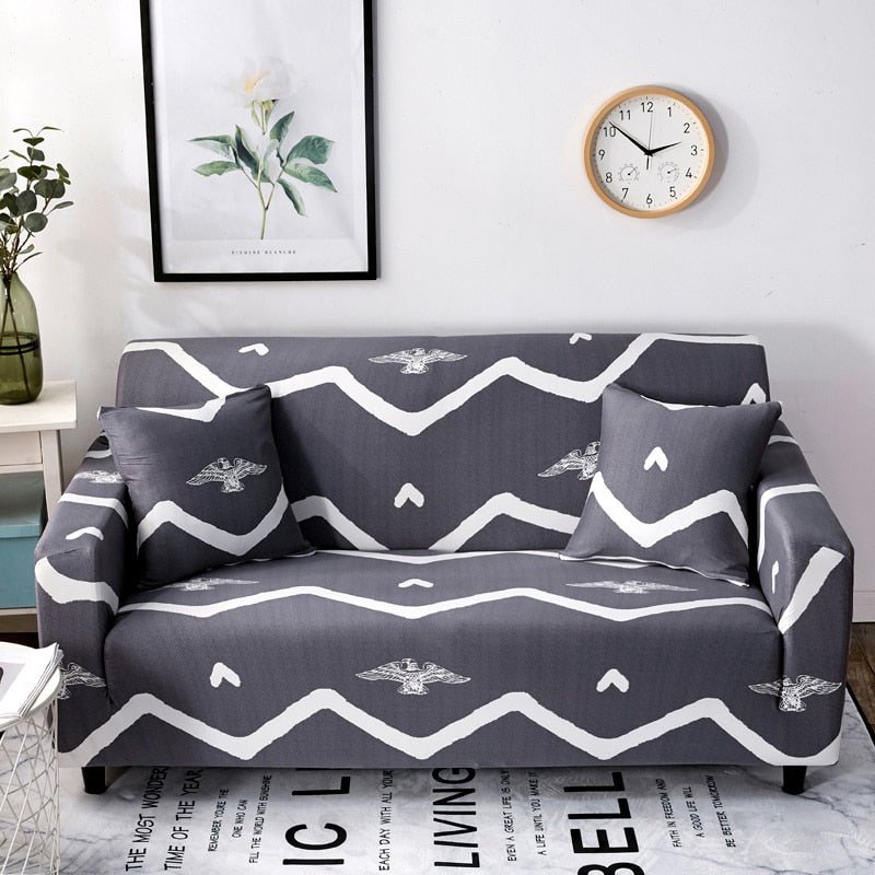 Dark Gray Native Eagle Striped Sofa Couch Cover