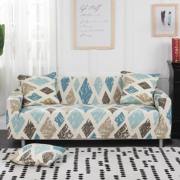 Tremendous Brown Blue Diamond Pattern Sofa Couch Cover Evergreenethics Interior Chair Design Evergreenethicsorg