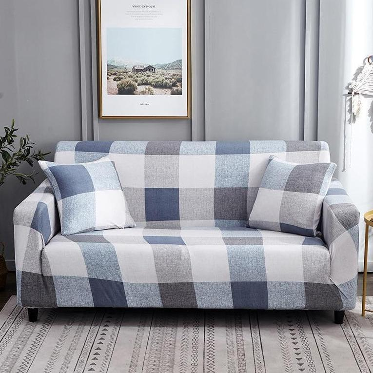 Blue Gray Plaid Pattern Sofa Couch Cover Decorzee