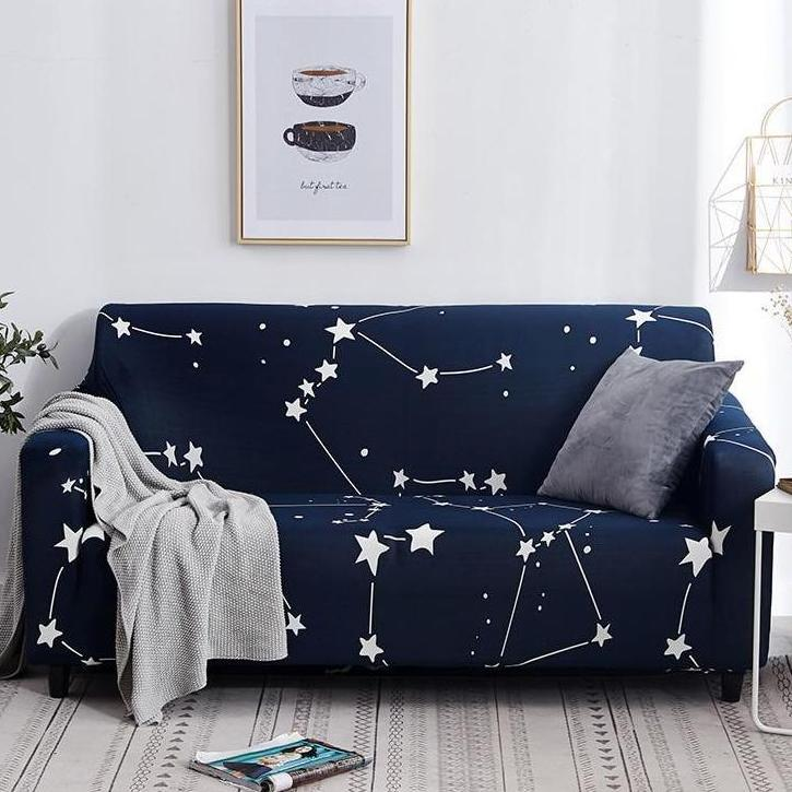 Dark Blue Constellation Star Print Sofa Couch Cover