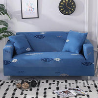 Simple Blue Fish Pattern Sofa Couch Cover