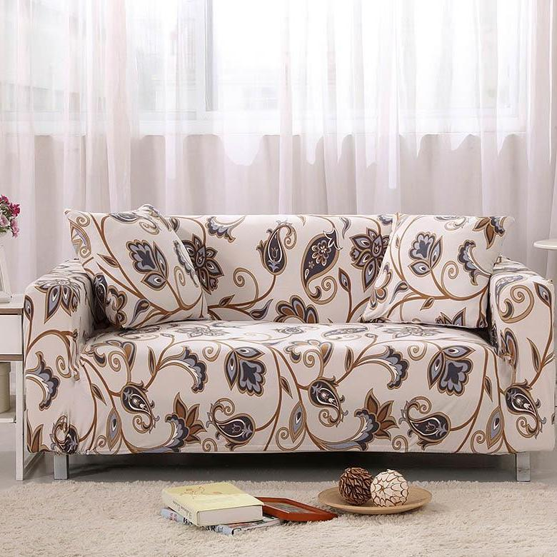 Beige Abstract Floral Pattern Sofa Couch Cover
