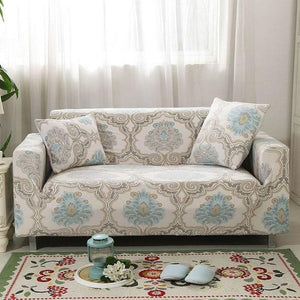 Vintage Ivory Floral Medallion Pattern Sofa Couch Cover